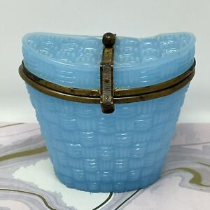 """Antique c. 1890 French Blue Opaline Glass """"Hat Box"""" with Bronze Strap & Mounts"""