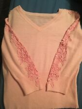 Pink Together Jumper Size 14/16 With Appliqué Lace Insert Sleeves Worn Once