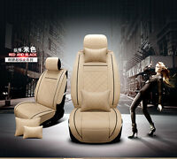 Car Seat Cover PU Leather 5Seat Front+Rear Cushion Size M W/Pillow Creamy-White