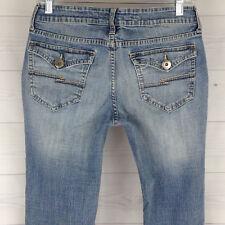 Arizona Bootcut Low Rise Women's Size 7 Short Blue Light Wash Flap Pocket Jeans