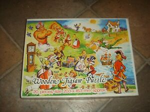 Vintage  Nursery Rhyme Wooden 20 Piece Puzzle by Castile