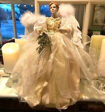"""18"""" Elegant Gold Christmas Angel Tree Topper Victorian Full Skirt"""