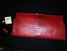 NWT $148 HOBO INTL RED/WINE GABRIELLE ALLIGATOR/ CROC EMBOSSED LEATHER CLUTCH