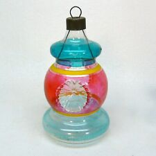 Vtg unsilvered bell shape double indent striped glass Christmas ornament