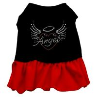 "Mirage Pet Rhinestone Dress ""Angel Heart"" Black with Red; Size Medium"