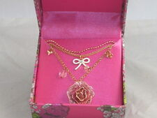 Betsey Johnson Goldtone Pink Sparkle Rose Flower Bow 3 Layer Necklace $35