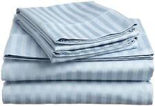 Light Blue Stripe Queen Sheet Set 4 Piece 800 Thread Count Egyptian Cotton