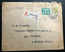 1930 The Hague Netherlands Registered Commercial Cover To London England