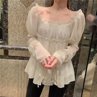 Ladies Chiffon Ruffle Shirt Off Shoulder Tops Retro Pleated Pullover Square Neck