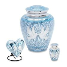 Blue Loving Birds Cremation Urn Set