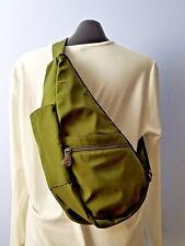 Vintage AMERIBAG Olive Green Nylon Sling Purse Bag Backpack Travel Bag