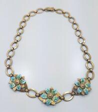 Vintage Sterling Silver 925 Blue Enamel 14k Yellow Gold Flower Necklace