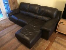 3 Seater Leather Sofa With Chaise Very Good Condition
