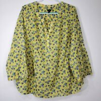Talbots Women's Top 2X Floral 3/4 Bell Sleeve Bright Yellow Popover Blue
