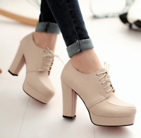 Womens Lace Up Platform Chunky Heel Round Toe Shoes Party Ankle Boots Plus Size