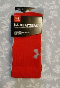 NWT Boy's 3 Pair Under Armour Heatgear Crew Socks 13.5K-4Y