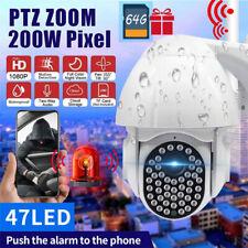 1080P Camera Wifi Sans fil Vision Nuit Exterieur Surveillance PTZ + 64G carte