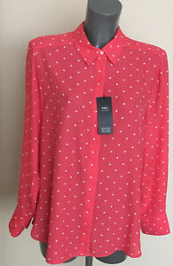 M&S Size 16 Coral Mix Spotted Soft Polyester Long Sleeve Blouse Shirt Top Bnwt