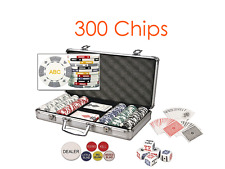 Custom Card Suited Poker Chip Set 3 Initials on Both Sides of Chips - 300 Chips