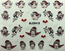 Nail Art 3D Glitter Decal Stickers Christmas Angel Cherub Hearts BLE941D