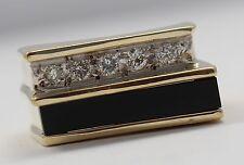14k Yellow Gold Onyx and Diamond Men's Ring
