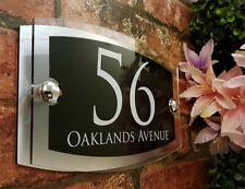 House Sign Plaque Door Number Street Glass Effect