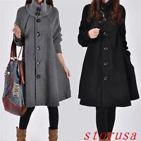 Korean Women Lady Loose Trench Cape Coat Wool Blend Fashion Outwear Jacket Coat