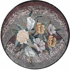 "36"" Round Medallion Huge Bouquet Garden Home Wall Floor Decor Marble Mosaic"