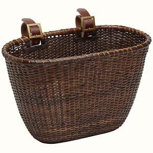 Dramir cesta de la compra con tapa y asas Cesta de mimbre para bicicleta