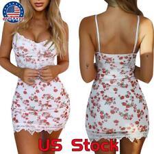 Women Floral Sleeveelss Mini Dress Summer Beach Lace Boho Bodycon Club Sundress