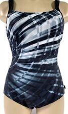 NEW Reebok Women's Size 14 Laserfocus Constructed One Piece Swimsuit Black/Grey