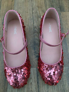 Next Girls Pink Sequin Heeled Shoes - Size 1 - Excellent Condition