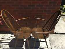 Pair Of Ercol Swan Back Windsor Carver Dining Chairs