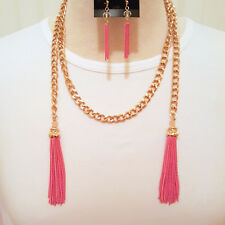 Gold Tone Pink Wrap Around Metallic Tassel Necklace and Earring Set Fashion