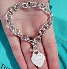 Tiffany & Co Return To Tiffany Sterling Silver Heart Tag Charm Bracelet 7.5 Inch