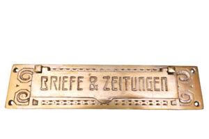 Originale ANTIKE Briefklappe Briefeinwurf Briefschlitz Briefkasten Altbau 1906