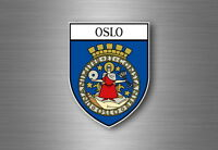 Sticker decal souvenir car coat of arms shield city flag oslo norway