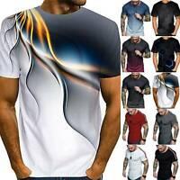 Herren Sommer Kurzarm T-Shirt Slim Fit Shirt Fitness Bodybuilding Sport Oberteil