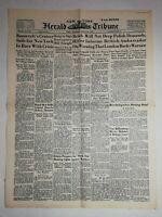 N1169 La Une Du Journal herald tribune 24 août 1939 Roosevelt's cruiser