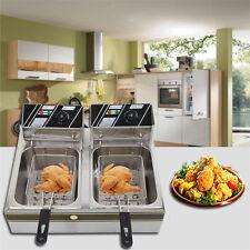 Electric Countertop Deep Fryer Dual Tank Commercial Restaurant 12 Liter 5000W