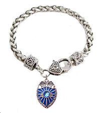 Police Lives Matter Thin Blue Line Officer Badge Antique Silver Charm Bracelet