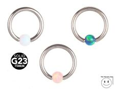 Opal Captive Bead Ball CBR Ring Hoop Body Piercing Gemstone Titanium Jewellery