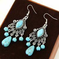 Beautiful Handmade Turquoise Stone Chandelier Earrings