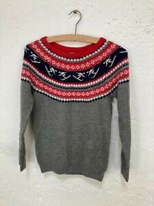 Fair Isle Style Grey, Red and Blue Jumper with Skiers Size 6