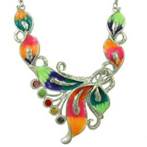 Colorful Enamel and Crystals Calla Lilies Necklace - RSN517