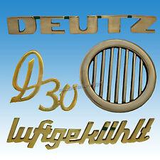 4-teiliger Emblem-Satz Deutz D 30 Rosette Luftgekühlt  Hauben Emblem Traktor