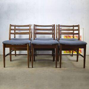 Set 6 Vintage Mid Century Teak Dining Chairs Younger Danish Era Upholstered