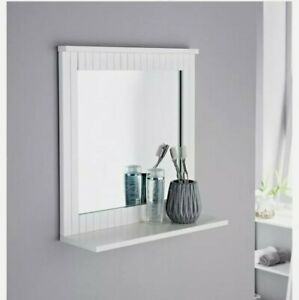 MAINE White Bathroom Wood Frame Mirror Wall Mounted With Cosmetics Shelf, New