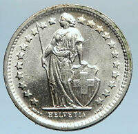 1967 SWITZERLAND SILVER 1/2 Francs Coin HELVETIA Symbolizes SWISS Nation i74368