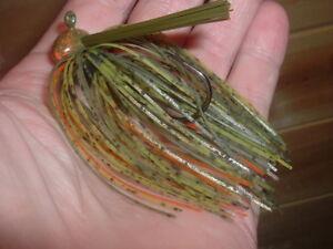 3 Bass Jigs Custom Weedless Football Jig Lot Of 3 Cooter Creek Craw 3/8 oz LOOK